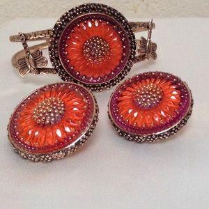 Glass Intaglio Cuff Bracelet & Earrings Bronze